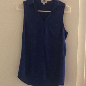 Express blue sleeveless portofino shirt